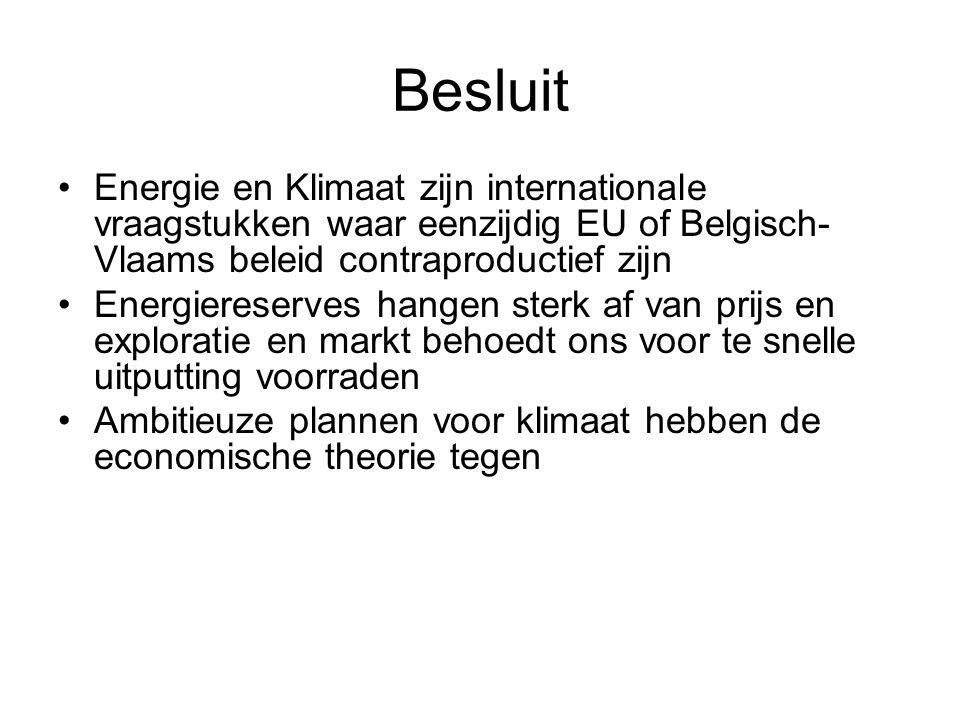 Besluit Energie en Klimaat zijn internationale vraagstukken waar eenzijdig EU of Belgisch-Vlaams beleid contraproductief zijn.