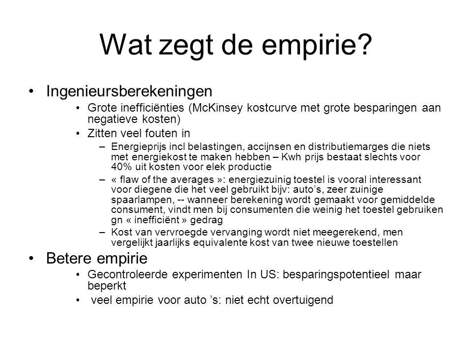 Wat zegt de empirie Ingenieursberekeningen Betere empirie
