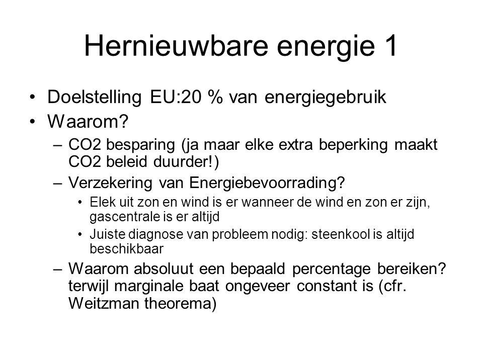 Hernieuwbare energie 1 Doelstelling EU:20 % van energiegebruik Waarom