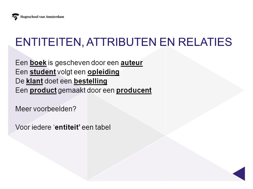 Entiteiten, Attributen en Relaties