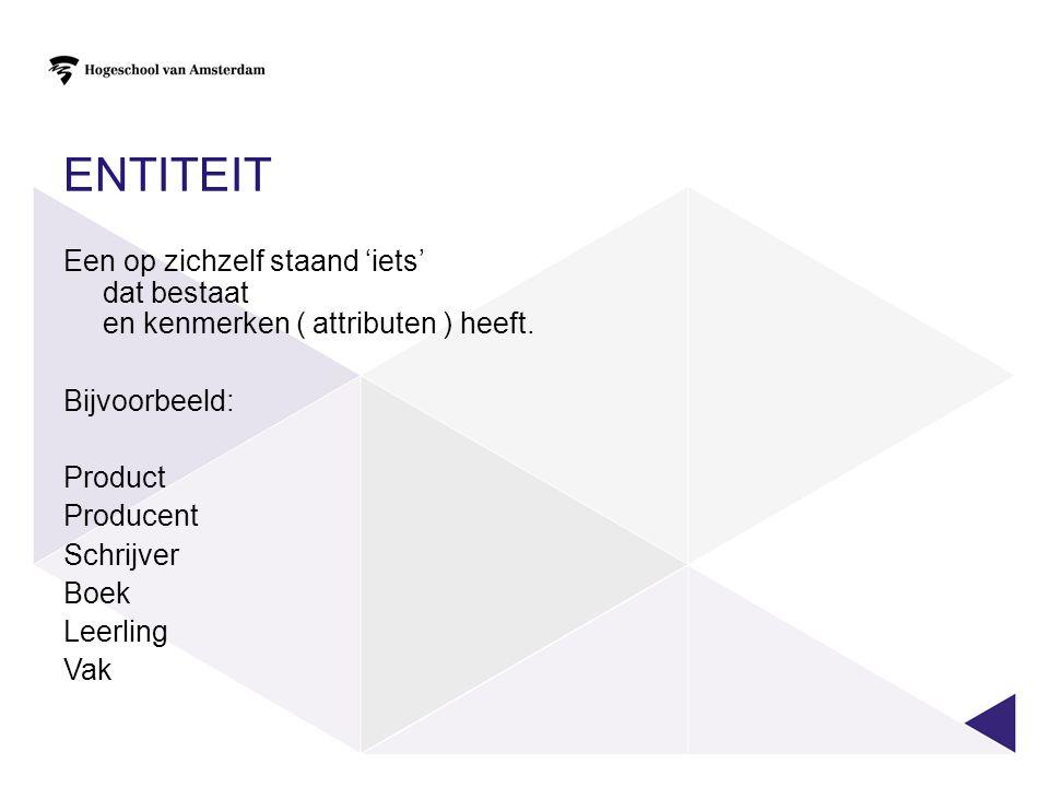 Entiteit Een op zichzelf staand 'iets' dat bestaat en kenmerken ( attributen ) heeft. Bijvoorbeeld: