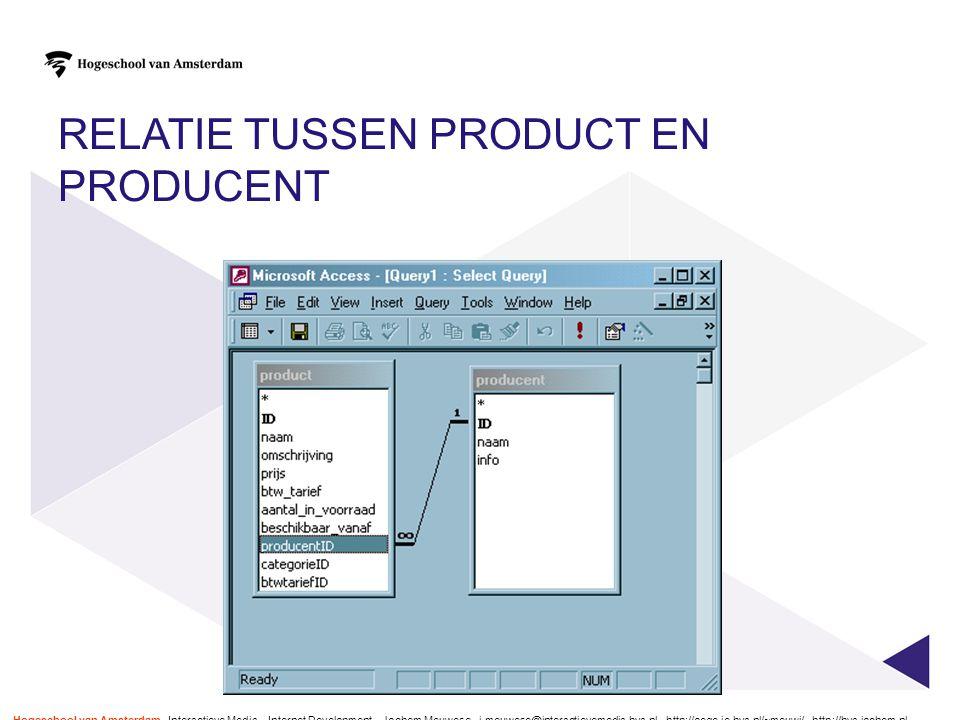 Relatie tussen product en producent