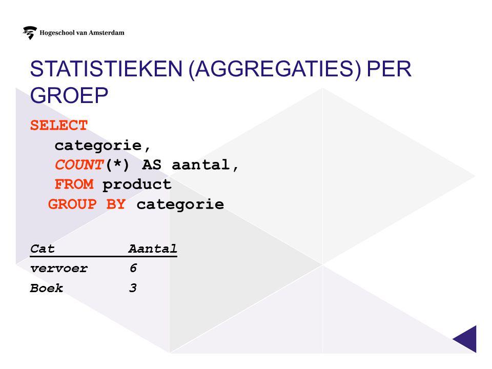 Statistieken (aggregaties) per groep