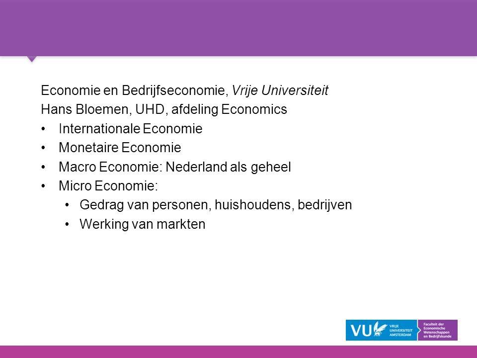 Economie en Bedrijfseconomie, Vrije Universiteit