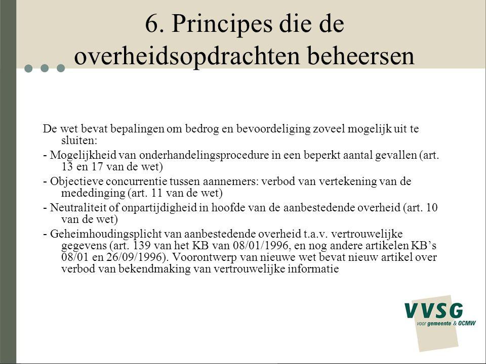 6. Principes die de overheidsopdrachten beheersen