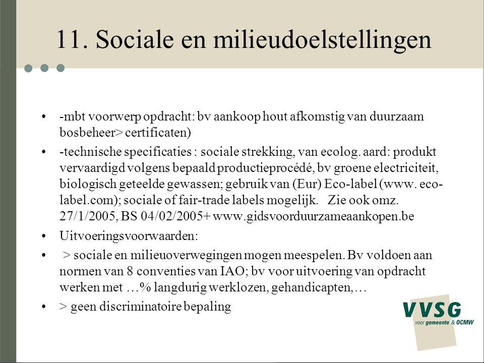 11. Sociale en milieudoelstellingen