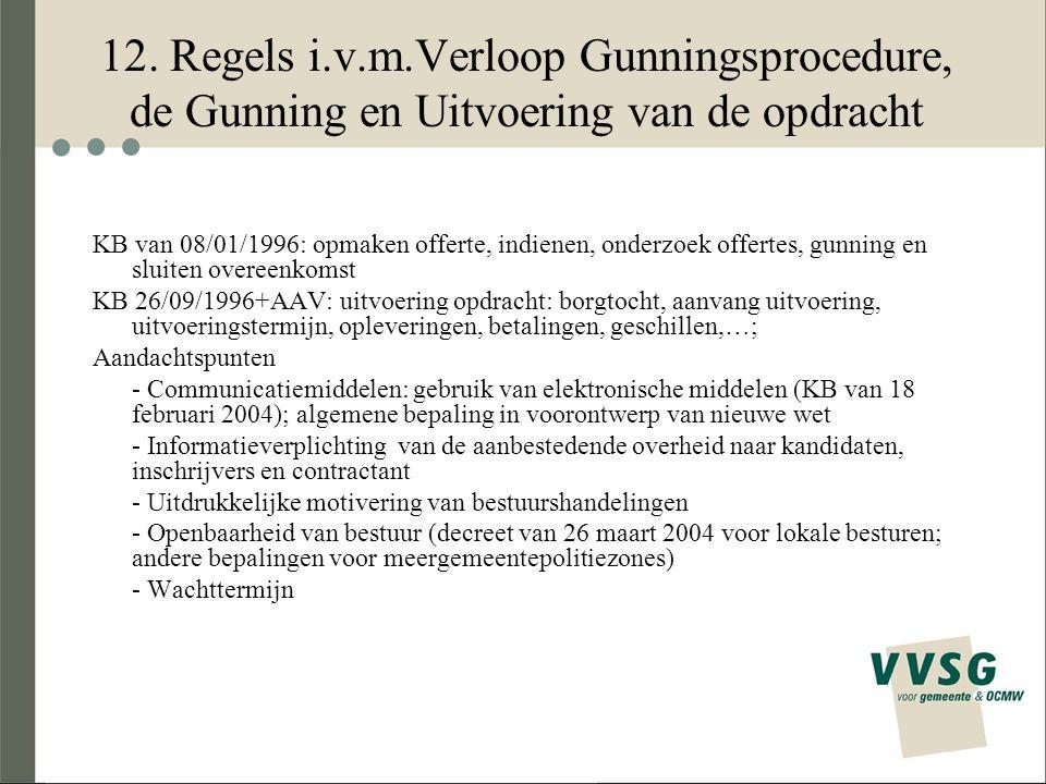 12. Regels i.v.m.Verloop Gunningsprocedure, de Gunning en Uitvoering van de opdracht