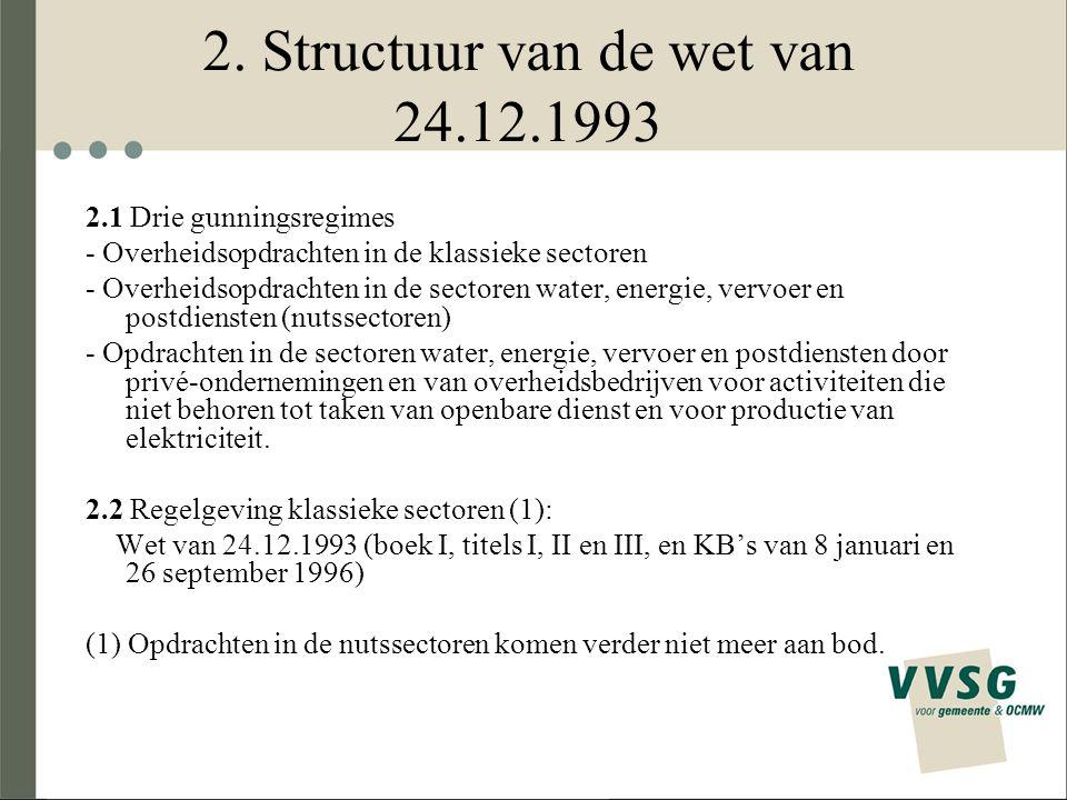 2. Structuur van de wet van 24.12.1993