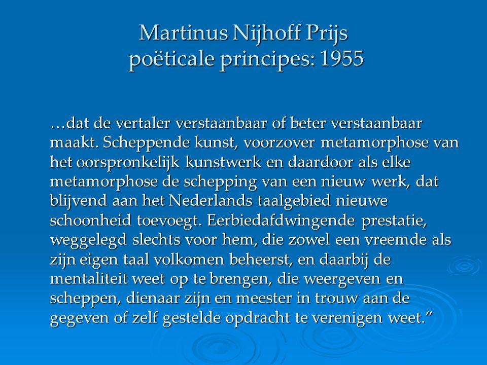 Martinus Nijhoff Prijs poëticale principes: 1955
