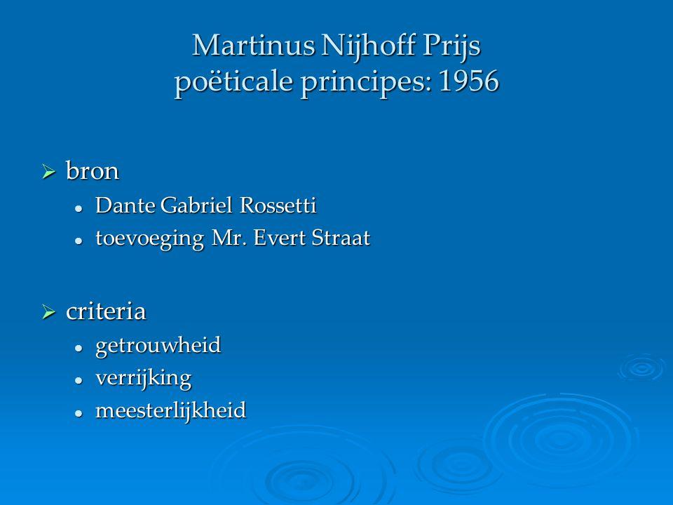 Martinus Nijhoff Prijs poëticale principes: 1956