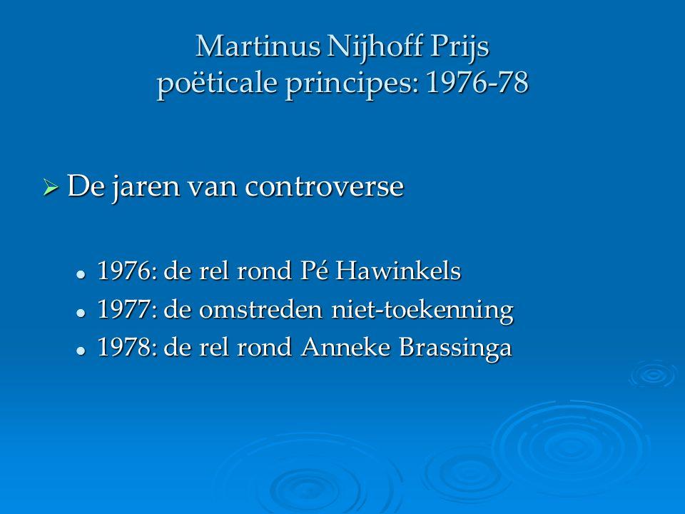 Martinus Nijhoff Prijs poëticale principes: 1976-78