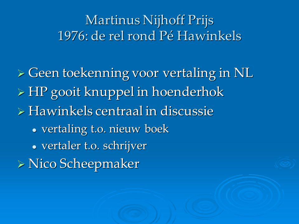 Martinus Nijhoff Prijs 1976: de rel rond Pé Hawinkels