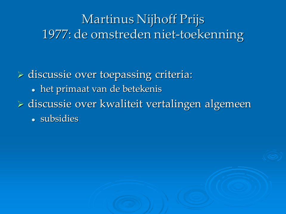 Martinus Nijhoff Prijs 1977: de omstreden niet-toekenning