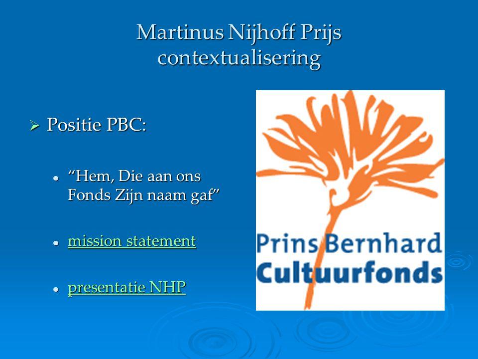Martinus Nijhoff Prijs contextualisering