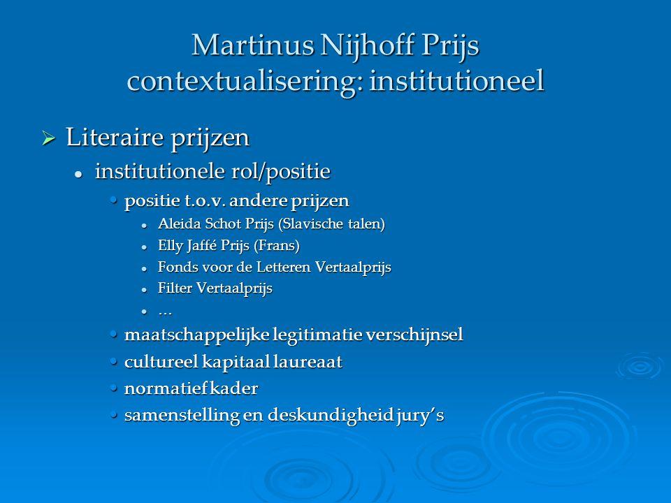 Martinus Nijhoff Prijs contextualisering: institutioneel