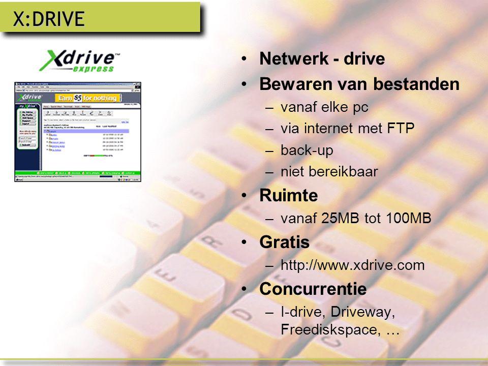 X:DRIVE Netwerk - drive Bewaren van bestanden Ruimte Gratis