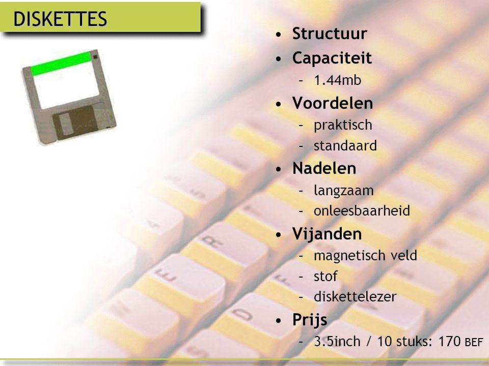 DISKETTES Structuur Capaciteit Voordelen Nadelen Vijanden Prijs 1.44mb