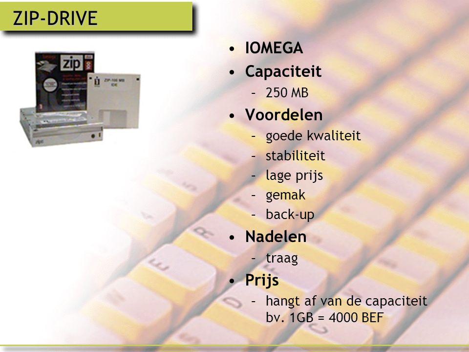 ZIP-DRIVE IOMEGA Capaciteit Voordelen Nadelen Prijs 250 MB