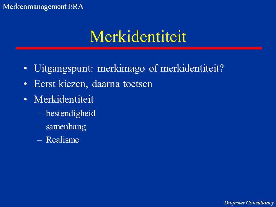 Merkidentiteit Uitgangspunt: merkimago of merkidentiteit