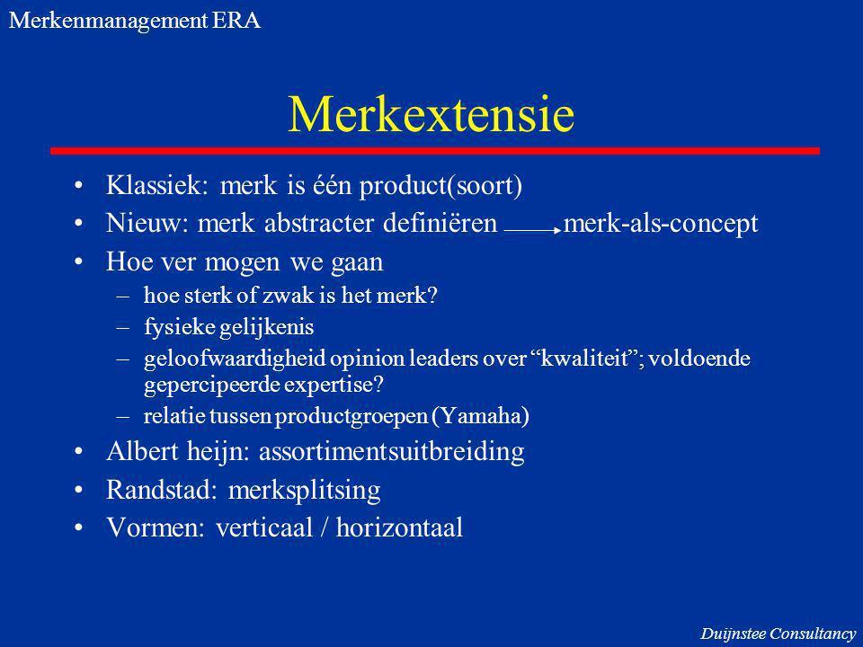 Merkextensie Klassiek: merk is één product(soort)