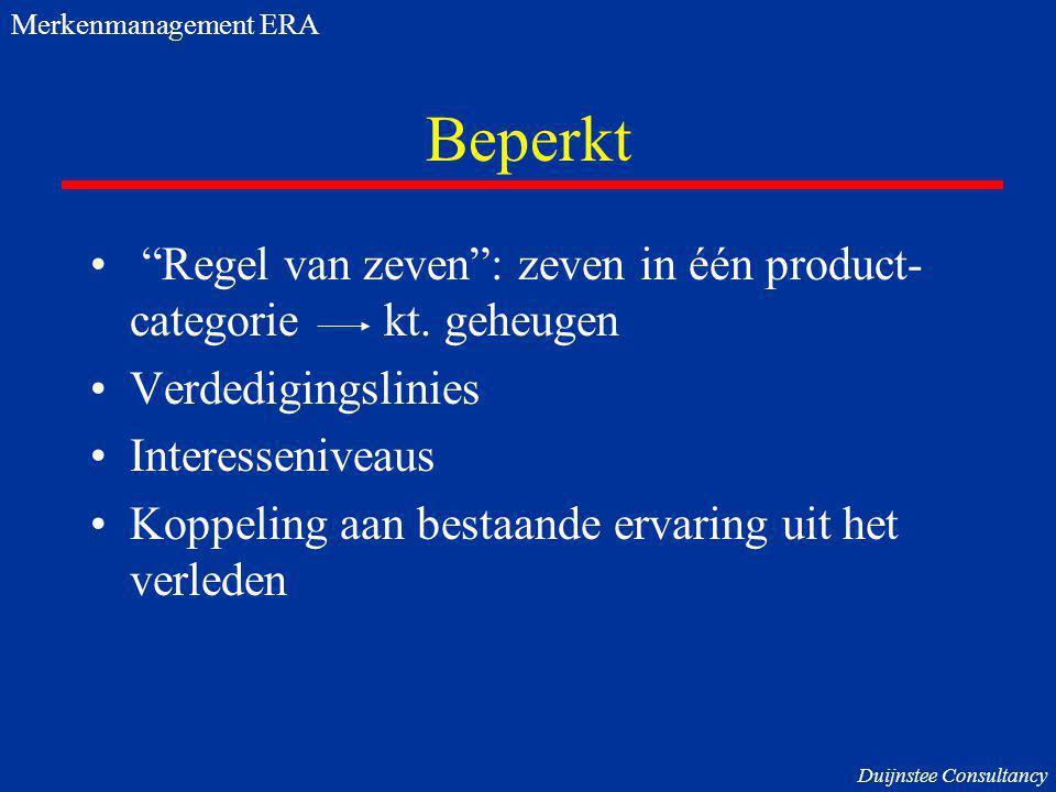 Merkenmanagement ERA Beperkt. Regel van zeven : zeven in één product- categorie kt. geheugen.