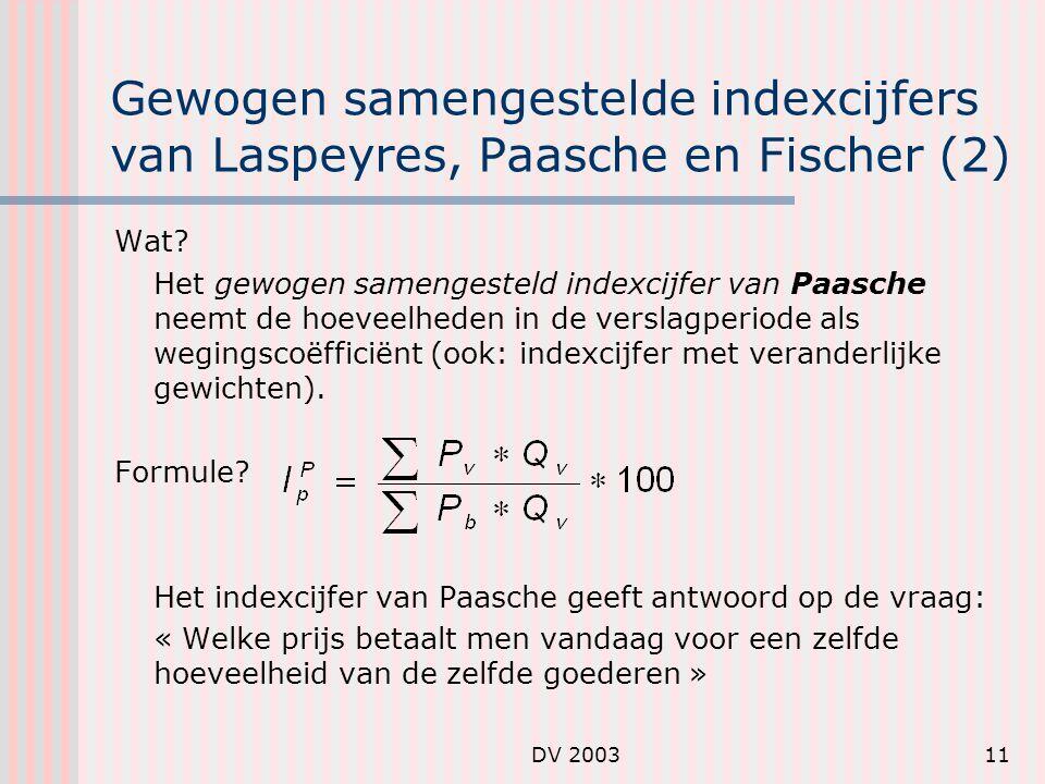Gewogen samengestelde indexcijfers van Laspeyres, Paasche en Fischer (2)