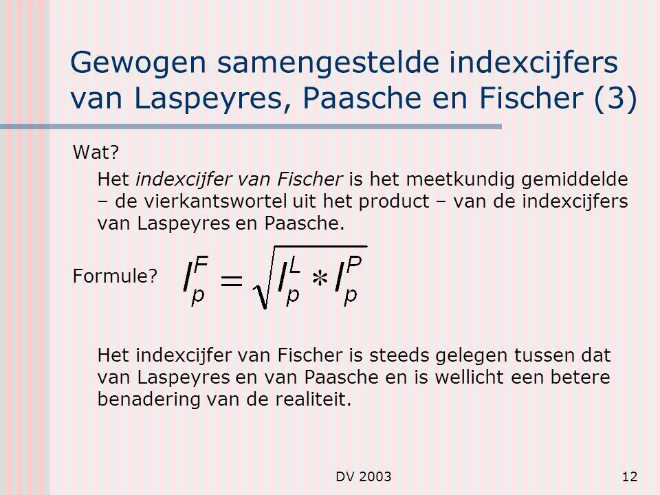 Gewogen samengestelde indexcijfers van Laspeyres, Paasche en Fischer (3)