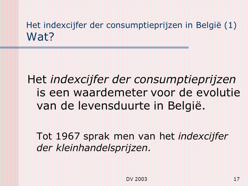 Het indexcijfer der consumptieprijzen in België (1) Wat