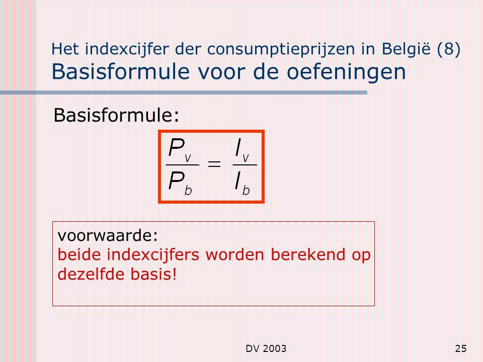 Het indexcijfer der consumptieprijzen in België (8) Basisformule voor de oefeningen