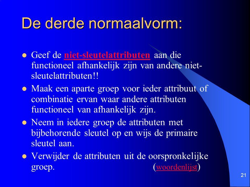 De derde normaalvorm: Geef de niet-sleutelattributen aan die functioneel afhankelijk zijn van andere niet-sleutelattributen!!