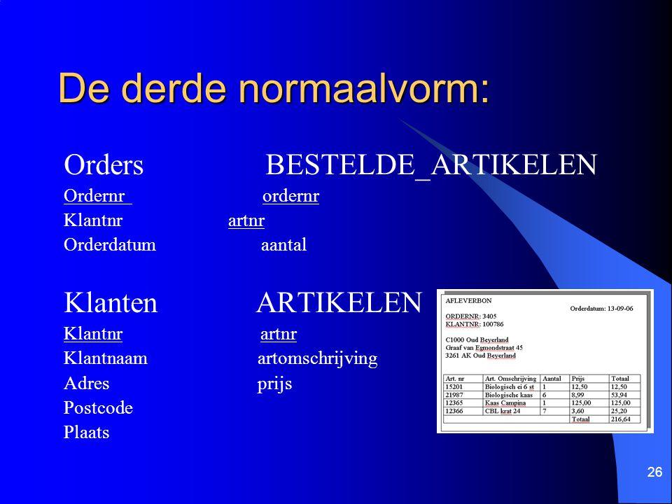 De derde normaalvorm: Orders BESTELDE_ARTIKELEN Klanten ARTIKELEN