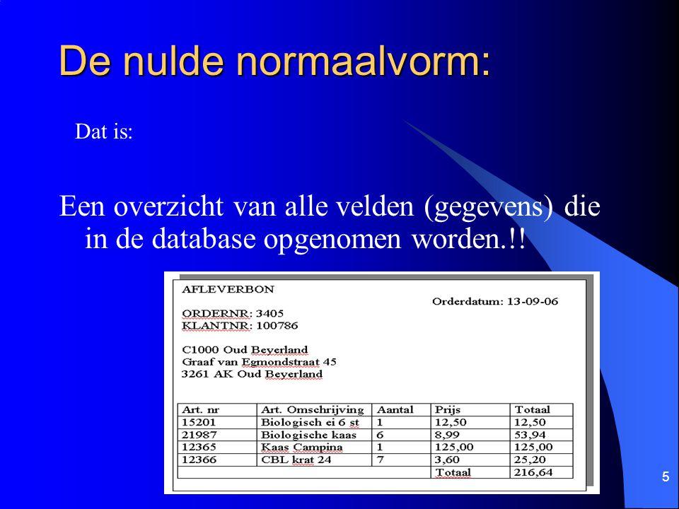De nulde normaalvorm: Dat is: Een overzicht van alle velden (gegevens) die in de database opgenomen worden.!!