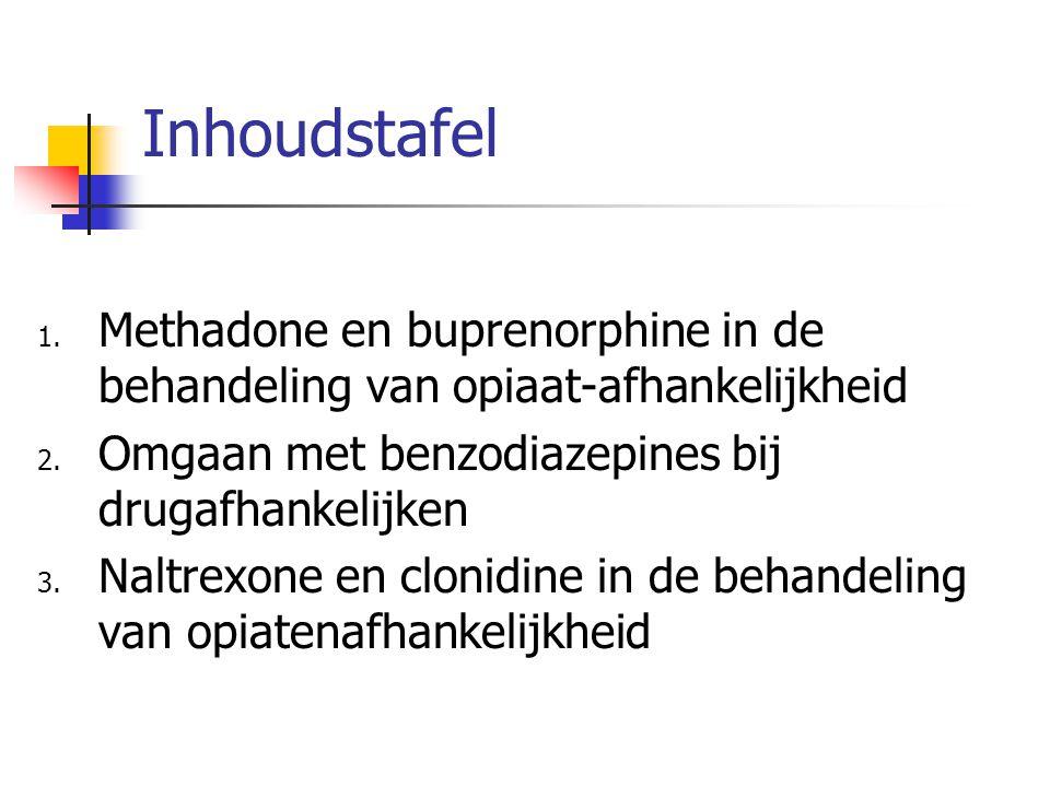 Inhoudstafel Methadone en buprenorphine in de behandeling van opiaat-afhankelijkheid. Omgaan met benzodiazepines bij drugafhankelijken.