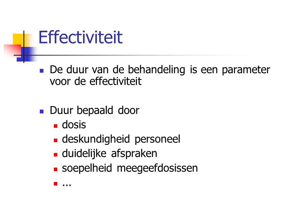 Effectiviteit De duur van de behandeling is een parameter voor de effectiviteit. Duur bepaald door.