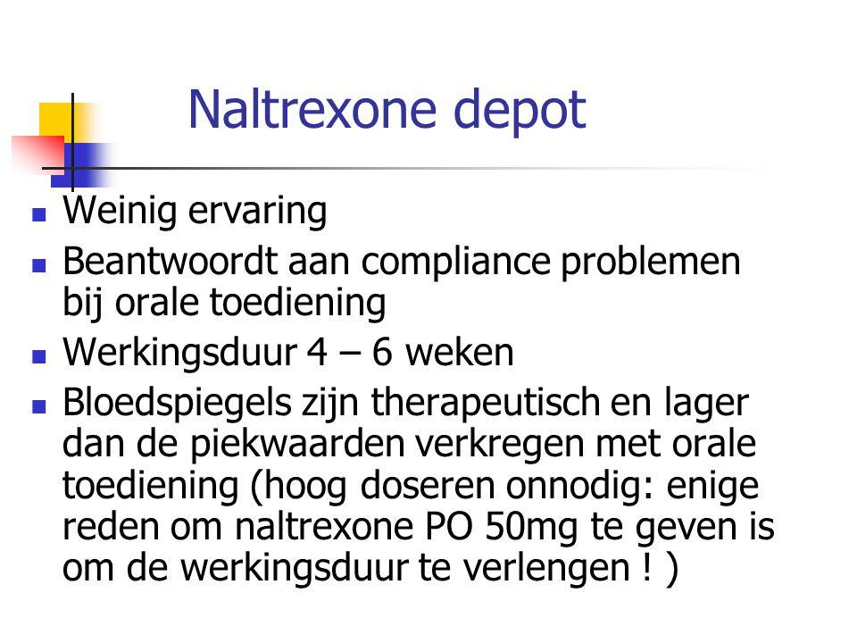 Naltrexone depot Weinig ervaring