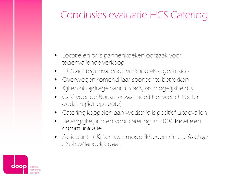Conclusies evaluatie HCS Catering