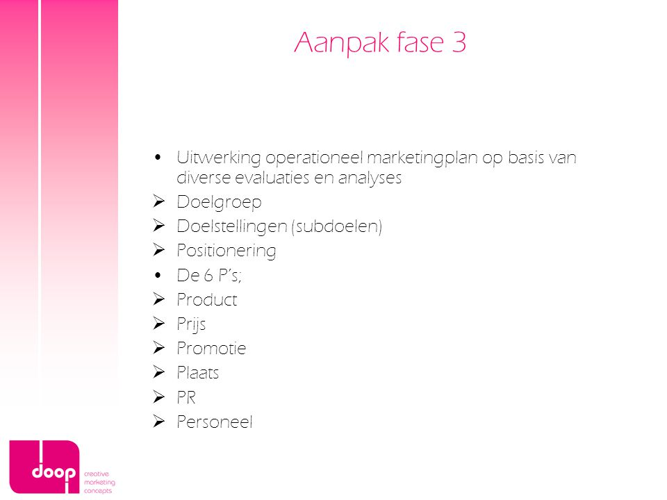 Aanpak fase 3 Uitwerking operationeel marketingplan op basis van diverse evaluaties en analyses. Doelgroep.