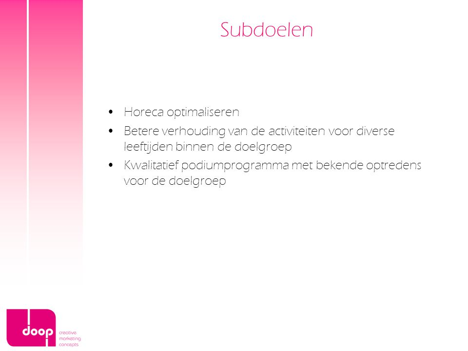 Subdoelen Horeca optimaliseren
