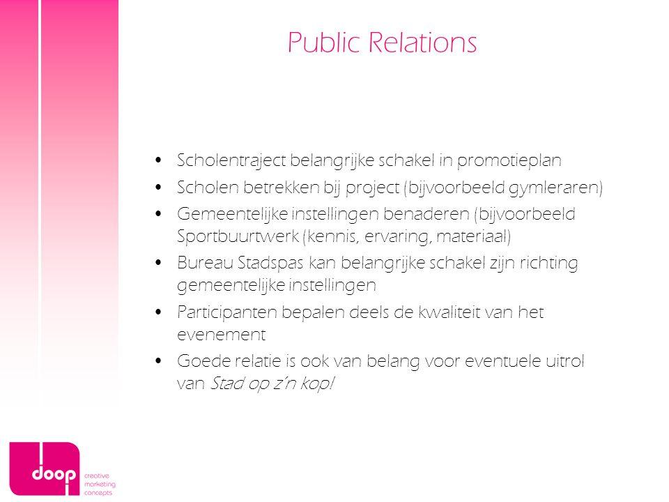 Public Relations Scholentraject belangrijke schakel in promotieplan