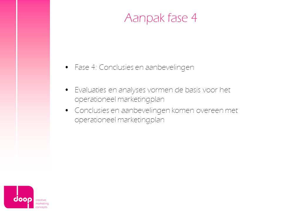 Aanpak fase 4 Fase 4: Conclusies en aanbevelingen