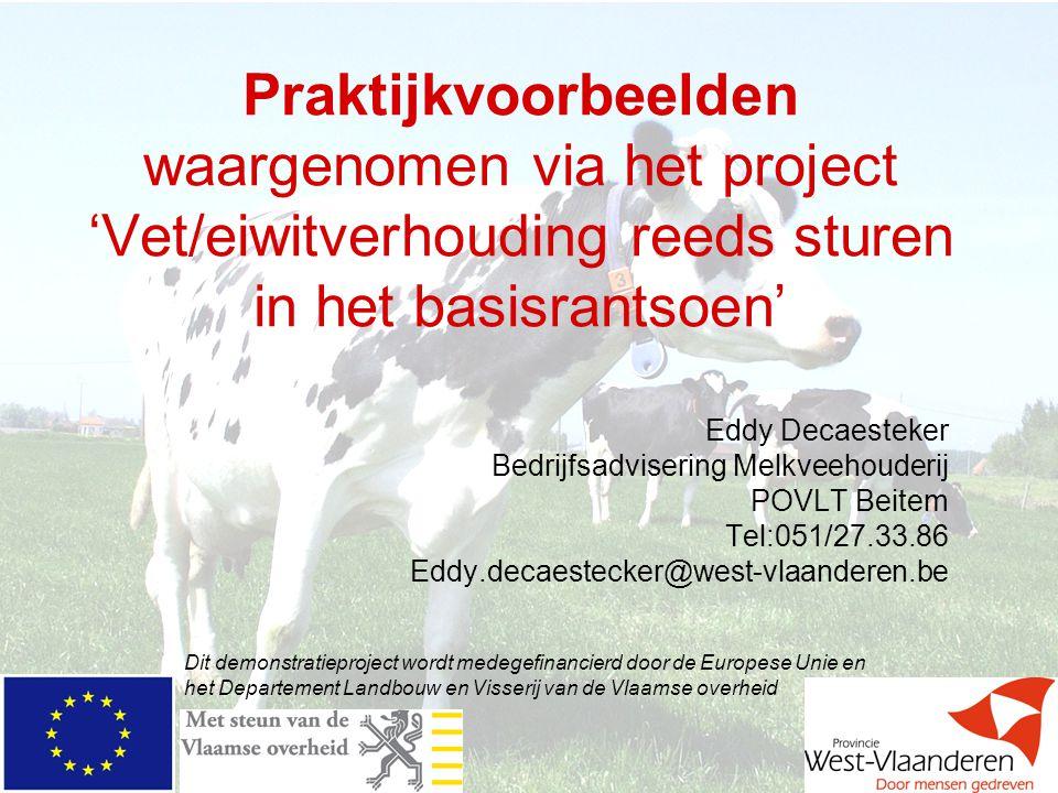 Praktijkvoorbeelden waargenomen via het project 'Vet/eiwitverhouding reeds sturen in het basisrantsoen'