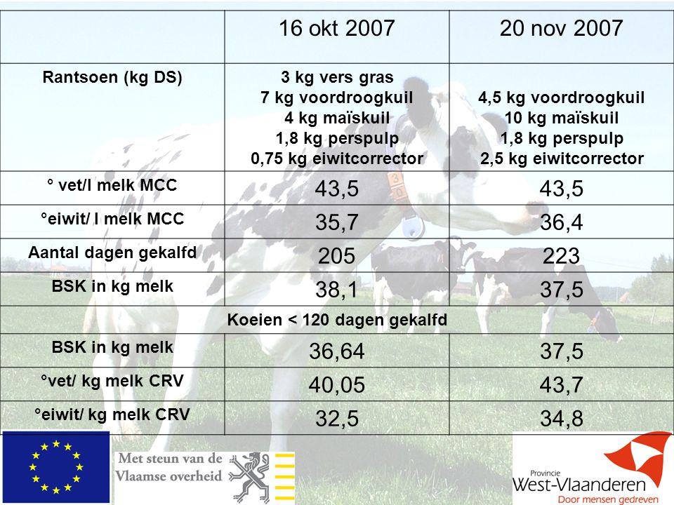 Koeien < 120 dagen gekalfd