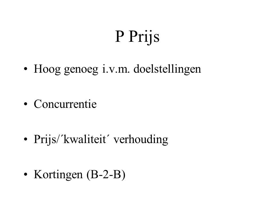 P Prijs Hoog genoeg i.v.m. doelstellingen Concurrentie