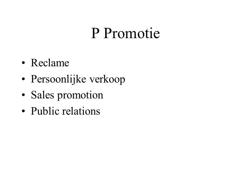 P Promotie Reclame Persoonlijke verkoop Sales promotion