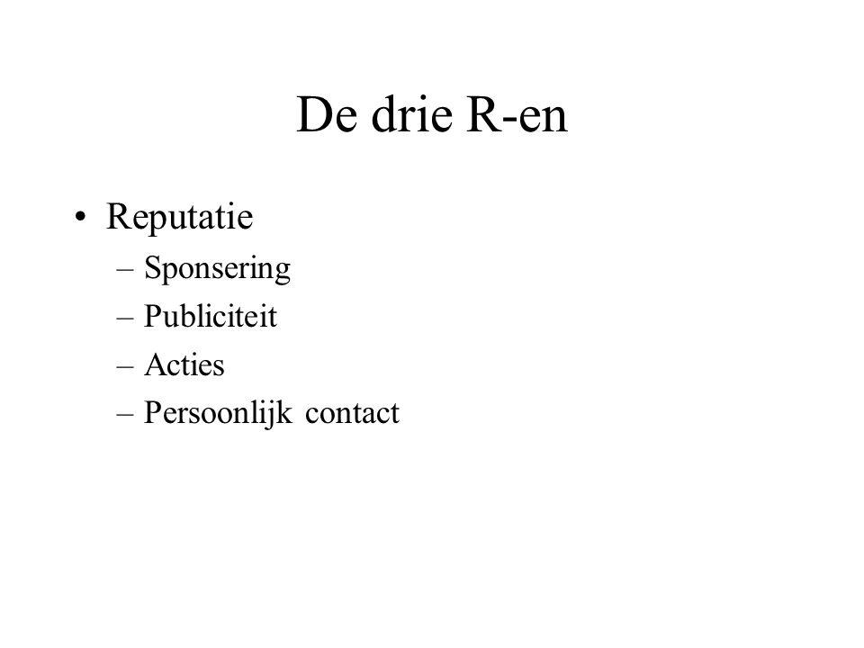 De drie R-en Reputatie Sponsering Publiciteit Acties