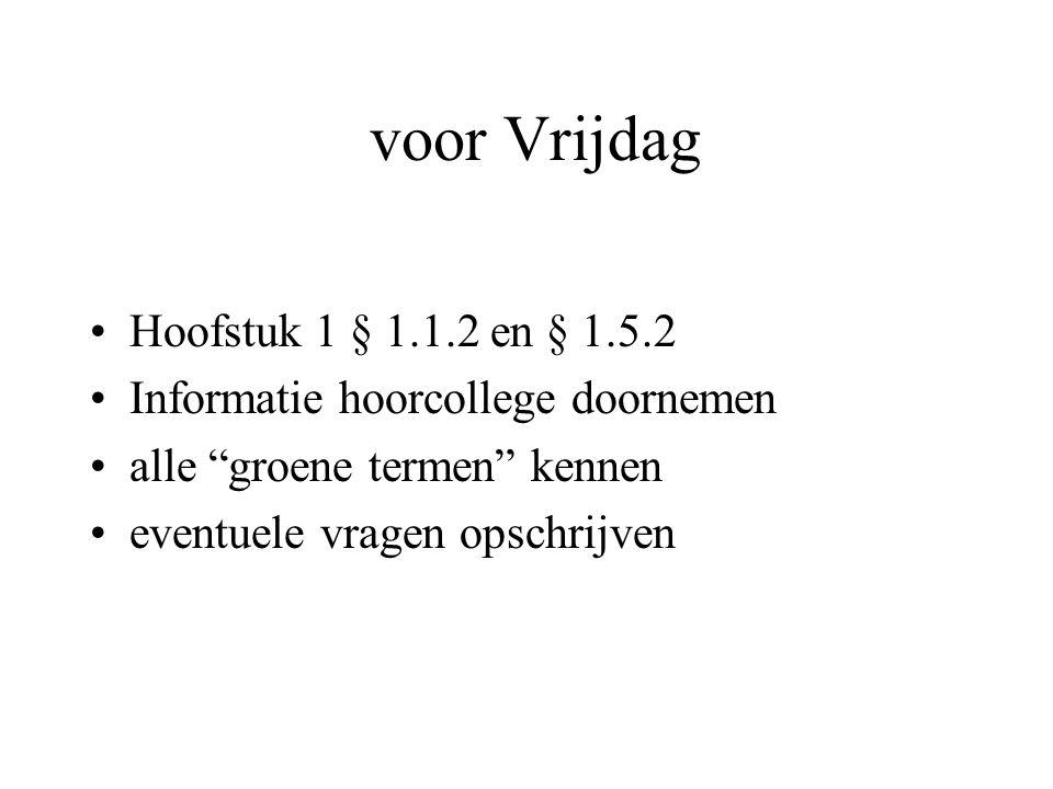 voor Vrijdag Hoofstuk 1 § 1.1.2 en § 1.5.2