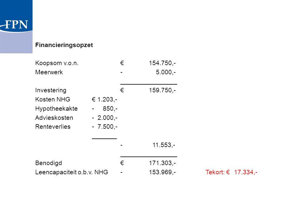 Financieringsopzet Koopsom v. o. n. € 154. 750,- Meerwerk - 5