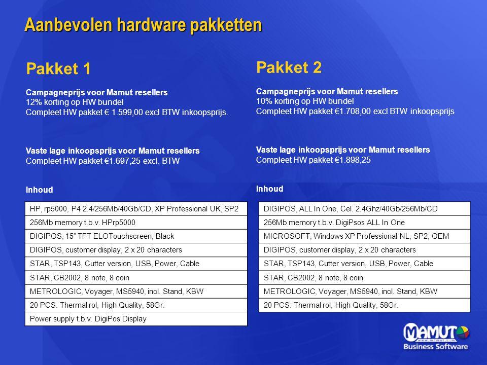 Aanbevolen hardware pakketten
