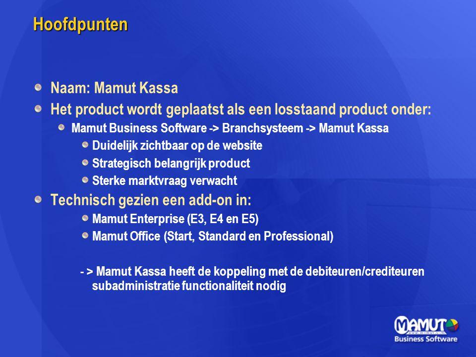 Hoofdpunten Naam: Mamut Kassa