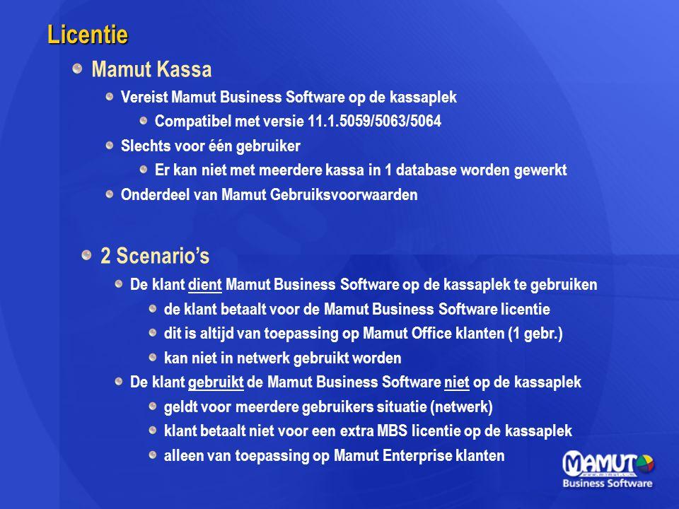 Licentie Mamut Kassa 2 Scenario's
